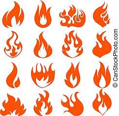 平ら, セット, 炎, 火, 照明効果, 網, 漫画, ゲーム, ベクトル, デザイン, イラスト, style.