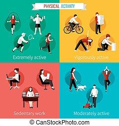 平ら, セット, 物理的な 活動