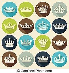 平ら, セット, 王冠, アイコン