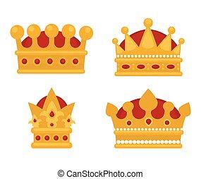 平ら, セット, 王冠, icons., 金