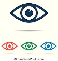 平ら, セット, 目, 単純である, -, 隔離された, 背景, ベクトル, デザイン, 白, アイコン