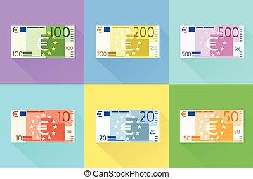 平ら, セット, 紙幣, ベクトル, デザイン, 影, ユーロ