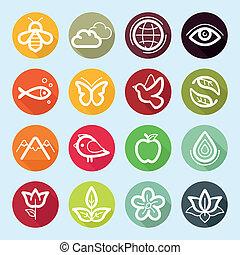 平ら, セット, 自然, 植物相, -, ベクトル, 動物群, アイコン