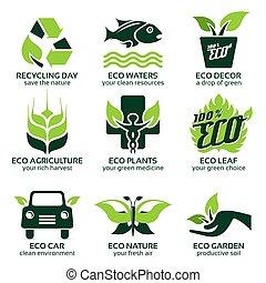 平ら, セット, 自然, eco, 緑, アイコン