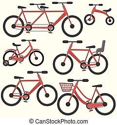 平ら, セット, 自転車, カラフルである, ベクトル, 赤