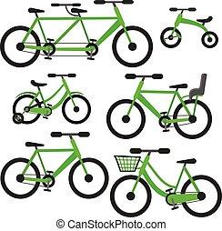 平ら, セット, 自転車, ベクトル, 緑, 漫画