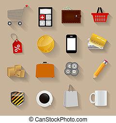 平ら, セット, 買い物, アイコン, イラスト, ベクトル