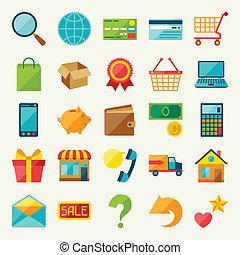 平ら, セット, 買い物, デザイン, インターネット, style., アイコン