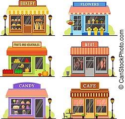 平ら, セット, 買い物, 店, レストラン, ブティック, 現代, イラスト, shopfront, store., ファサド, 店, 漫画, design.