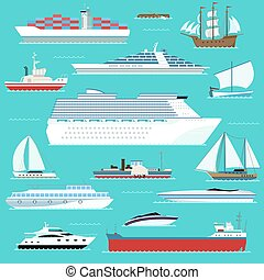 平ら, セット, 軍艦, ボート, 現代, 船, 乗り物, 海である, 水, ヨット, wherry, ベクトル, デザイン, ホバークラフト, 容器, 極度, style., 輸送