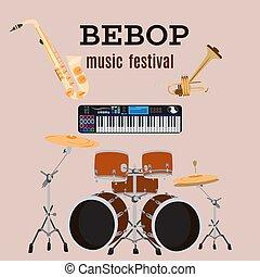 平ら, セット, 道具, ジャズ, ベクトル, 音楽, bebop, design.