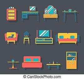 平ら, セット, 部屋, アイコン, イラスト, シンボル, ベクトル, 暮らし, 家具