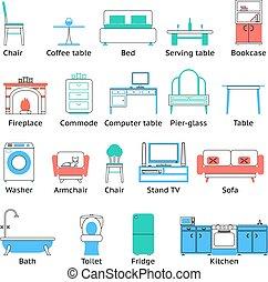 平ら, セット, 部屋, アイコン, 隔離された, イラスト, シンボル, ベクトル, 暮らし, 家具
