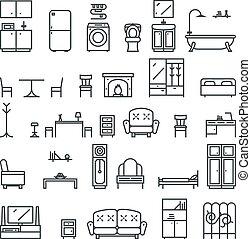 平ら, セット, 部屋, アイコン, 隔離された, イラスト, シンボル, ベクトル, 暮らし, lineart, 家具