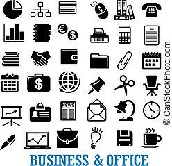 平ら, セット, 金融, オフィスアイコン, ビジネス