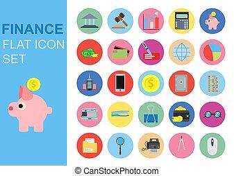 平ら, セット, 金融, ビジネス アイコン, 普遍的, イラスト, 適用, ベクトル, 網, シンボル, 銀行, design.