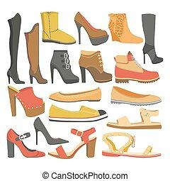 平ら, セット, 靴, アイコン, 隔離された, ブーツ, ベクトル, はき物, 女性, ∥あるいは∥, タイプ, 女性