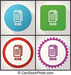 平ら, セット, 10., アイコン, options., eps, 編集, ベクトル, 読まれた, 4, 容易である, デザイン, アイコン