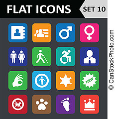 平ら, セット, 10., カラフルである, 普遍的, icons.