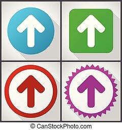 平ら, セット, 10., 矢, アイコン, options., の上, eps, 編集, ベクトル, デザイン, 4, 容易である, アイコン