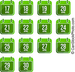 平ら, セット, 14, 日々, icons., 4 月, ベクトル, 年, カレンダー
