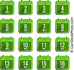 平ら, セット, 15, ∥そうするかもしれない∥, 日々, icons., ベクトル, 年, カレンダー