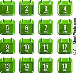 平ら, セット, 17, 6月, 日々, icons., ベクトル, 年, カレンダー