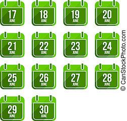 平ら, セット, 18, 6月, 日々, icons., ベクトル, 年, カレンダー
