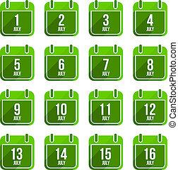 平ら, セット, 19, 日々, icons., ベクトル, 年, 7月, カレンダー