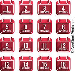 平ら, セット, 23, 9 月, 日々, icons., ベクトル, 年, カレンダー