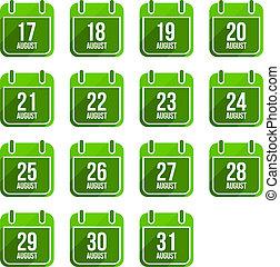 平ら, セット, 8月, 22, 日々, icons., ベクトル, 年, カレンダー