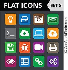 平ら, セット, 8., カラフルである, 普遍的, icons.