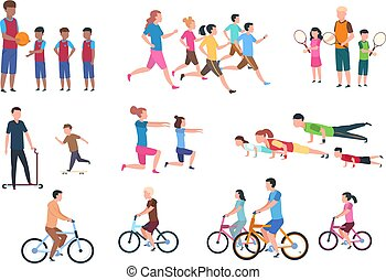 平ら, セット, activities., 人々, 隔離された, イラスト, ベクトル, 親, フィットネス, activity., スポーツ, 子供, 健康診断