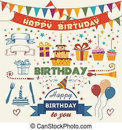 平ら, セット, birthday, ベクトル, デザイン, パーティー, 要素