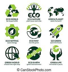 平ら, セット, eco, 惑星, 緑, アイコン