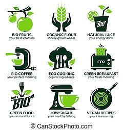 平ら, セット, eco, 緑の台所, アイコン