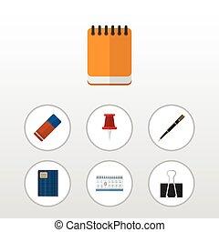 平ら, セット, elements., クリップ, pushpin, ゴム, 含む, カレンダー, また, ベクトル, ペーパー, 文房具, 日付, objects., アイコン, 他, ポインター