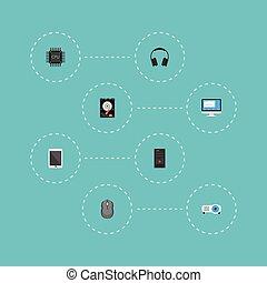平ら, セット, elements., ユニット, マザーボード, ディスプレイ, アイコン, ディスプレイ, システム, 含む, シンボル, pc, ベクトル, ヘッドホン, また, objects., 他, palmtop