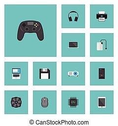 平ら, セット, elements., 冷却器, プリンター, アイコン, pc, 含む, シンボル, また, cpu, ベクトル, 換気装置, objects., 制御, 他, palmtop