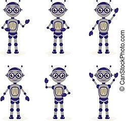 平ら, セット, illustration., オブジェクト, collection., 特徴, 隔離された, ロボット, バックグラウンド。, ベクトル, 白, ロボット, style., 漫画, マスコット
