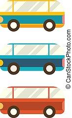平ら, セット, illustration., 単純である, buses., ベクトル, デザイン