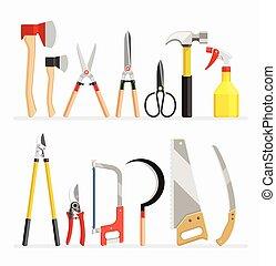 平ら, セット, items., イラスト, ベクトル, 職人, 道具, 庭師, design.
