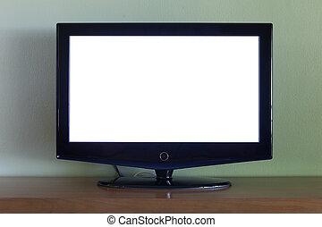 平ら, セット, tv スクリーン, 木, 黒, テーブル