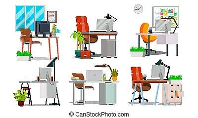 平ら, セット, vector., オフィス, 部屋, 隔離された, イラスト, laptop., デベロッパー, 内部, コンピュータ, 仕事場, pc, 机, 最新流行である, 創造的, studio.