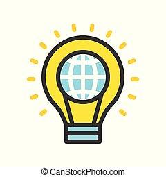 平ら, セービング, アウトライン, ライト, 地球, デザイン, 電球, エネルギー, 満たされた, アイコン