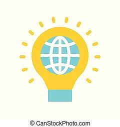 平ら, セービング, エネルギー, lightbulb, デザイン, 地球, アイコン