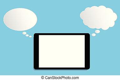 平ら, タブレット, concept., 現代, イラスト, ベクトル, スピーチ, デザイン, 泡