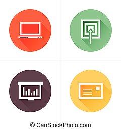 平ら, ターゲット, アイコン, グラフ, ラップトップ, デザイン, メール