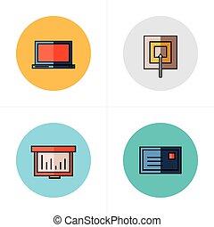 平ら, ターゲット, アイコン, スタイル, グラフ, ラップトップ, メール