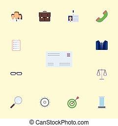 平ら, ターゲット, セット, elements., アイコン, 封筒, 電話, はめば歯車, 含む, シンボル, また, 仕事, ベクトル, magnifier, ポートフォリオ, objects., 他